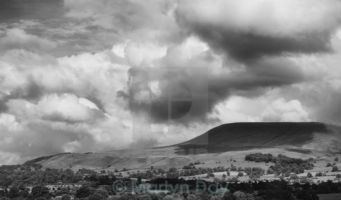 """Pendle Hill, Clitheroe, zoomed B&W"" stock image"